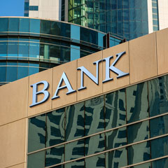 bank sign on a modern building