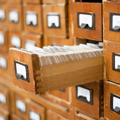 vintage wooden library card catalog drawers