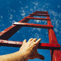 climbing a career ladder to the sky