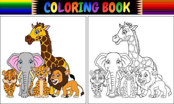 coloring book page with animals