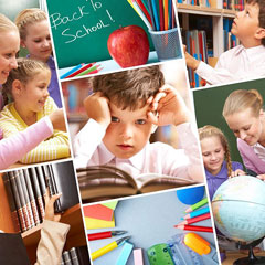 education objects and children studying