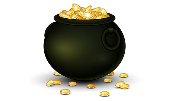 gold coins in a black pot