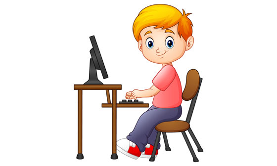 boy using a computer to access the Internet