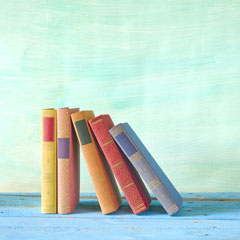 books on a blue board