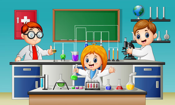 chemistry experiment in a science lab
