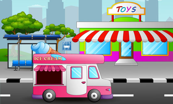 toy store, ice cream truck, and bus stop