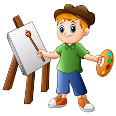 young artist ready to paint a picture